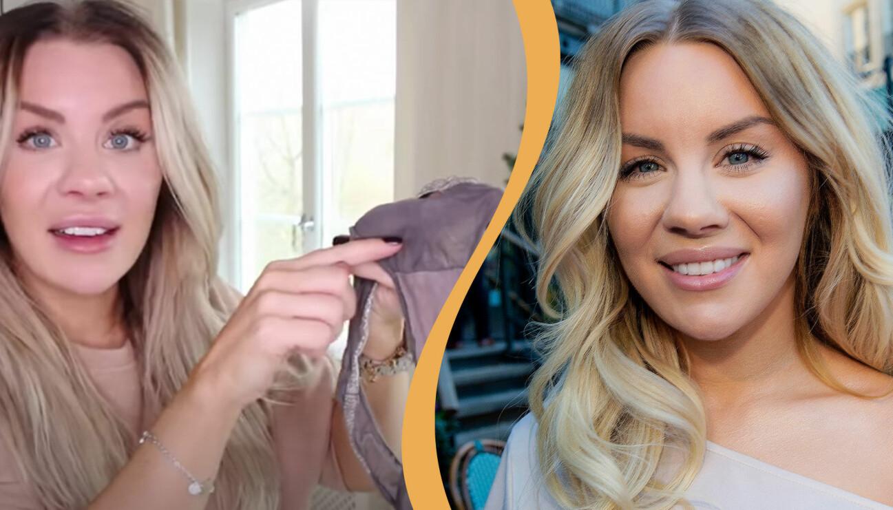 Delad bild: Till vänster syns Therése Lindgren hålla upp ett par trosor i ett Youtubeklipp. Till höger syns Therése Lindgren på Mammagalan i Stockholm 2018.