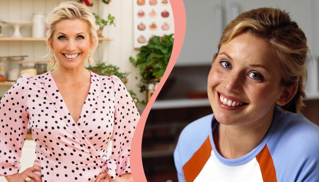 Delad bild: Till vänster syns Tina Nordström under inspelningarna av Hela Sverige bakar 2020. Till höger syns också Tina Nordström, fotograferad 2001.