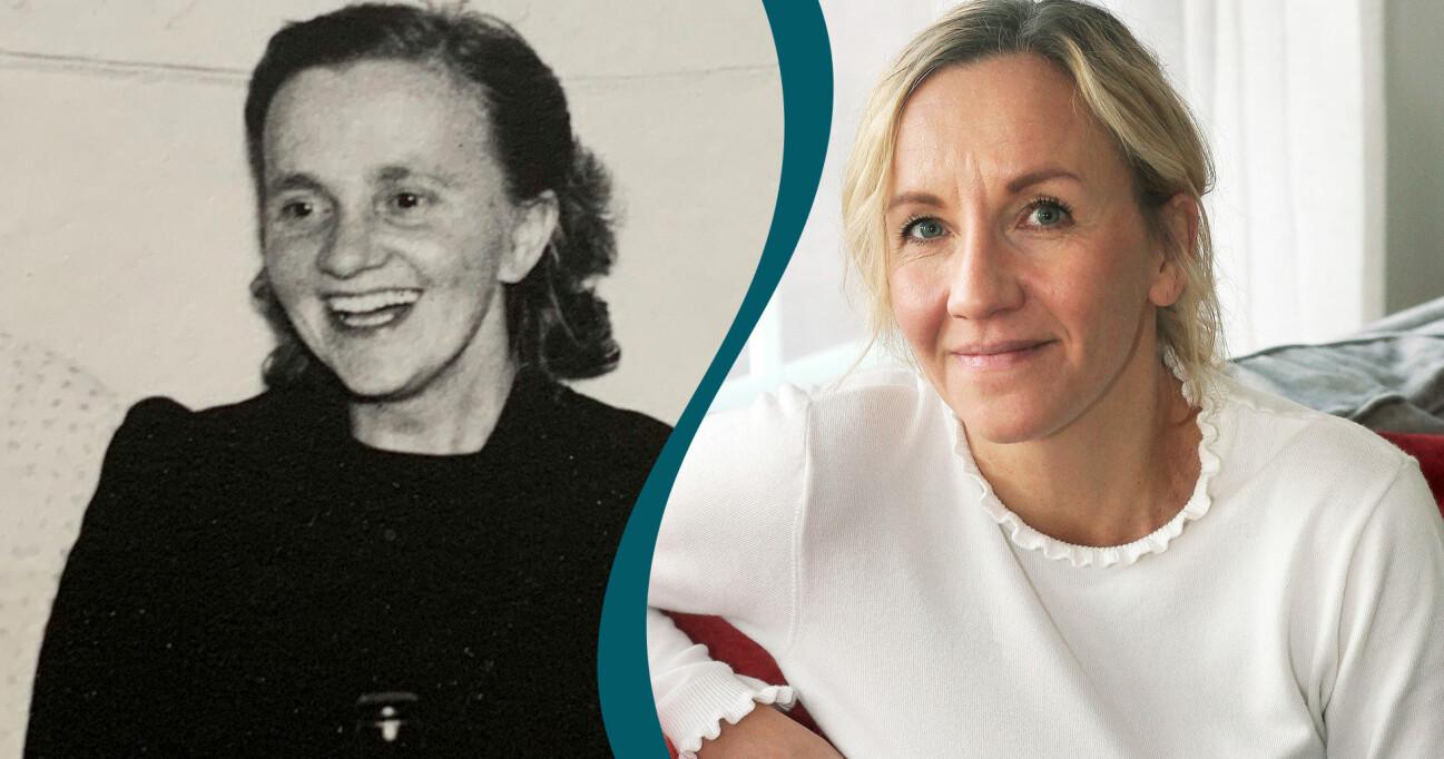 Delad bild med fotografier av Linda och hennes mormor som överlevde förintelsen.