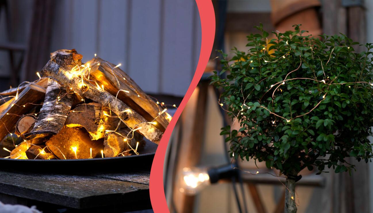 Delad bild på två olika dekorationer med belysning i trädgården.
