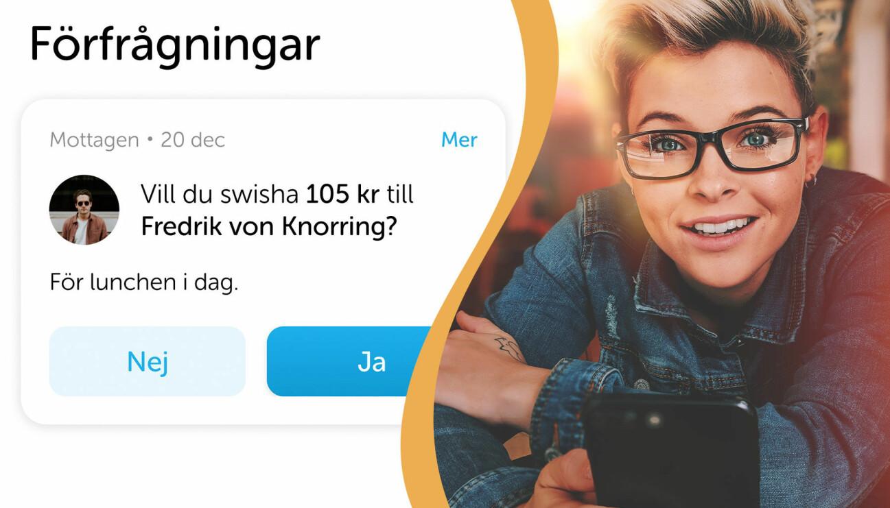 Delad bild. Till vänster: En förfrågan om en betalning i swish. Till höger: En kvinna med telefonen i handen.