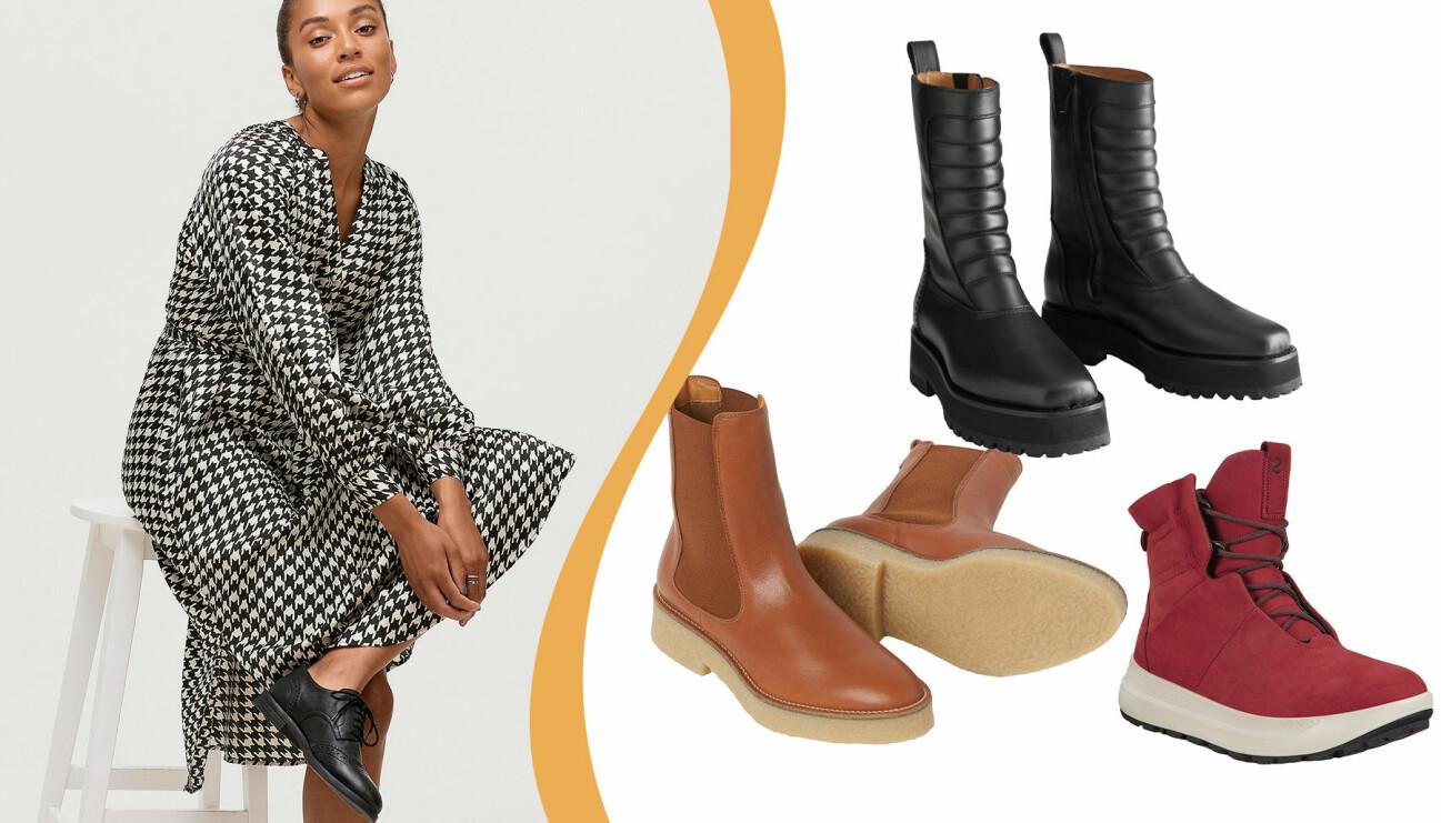 Delad bild. Till vänster: En kvinna i svarta skor. Till höger: höstkängor 2020.