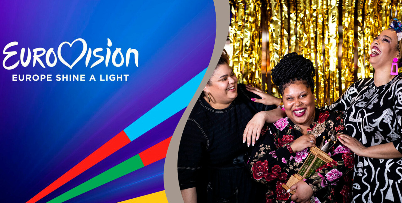 Delad bild. Till vänster: Eurovision: Europe Shine A Light-loggan. Till höger: Sveriges bidrag The Mamas.