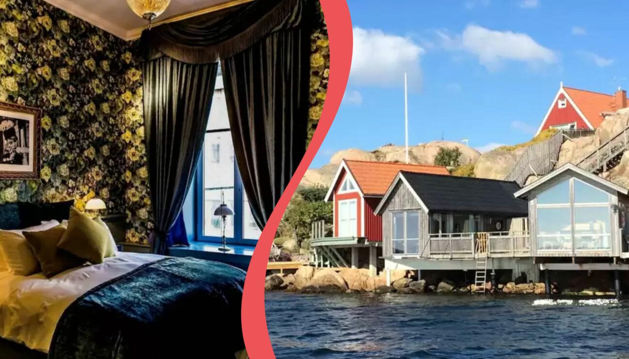 Delad bild. Till vänster: Hotell Pigalle. Till höger: Strandflickornas