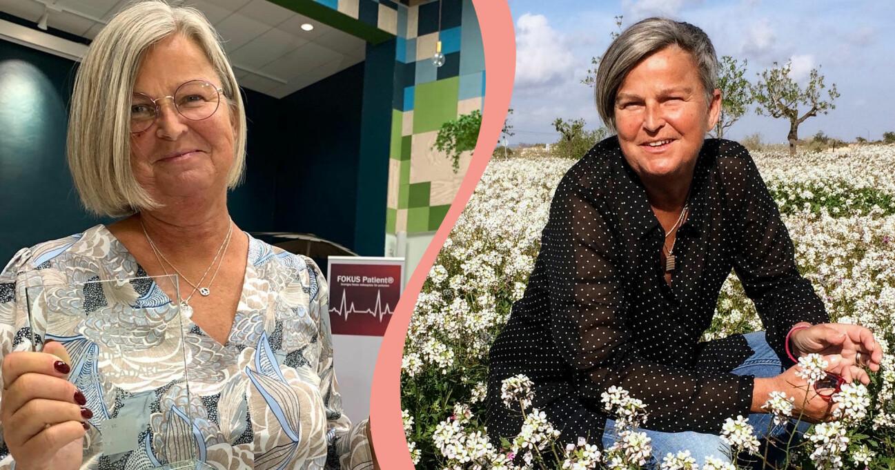 Delad bild. Till vänster: Monica Holmner mottar pris för Årets patientföreträdare av Fokus Patient 2019. Till höger: Monica Holmner sitter på huk mitt i en blomsteräng.