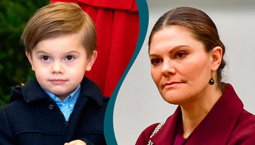 Delad bild. Till vänster: Prins Oscar. Till höger: Kronprinsessan Victoria.