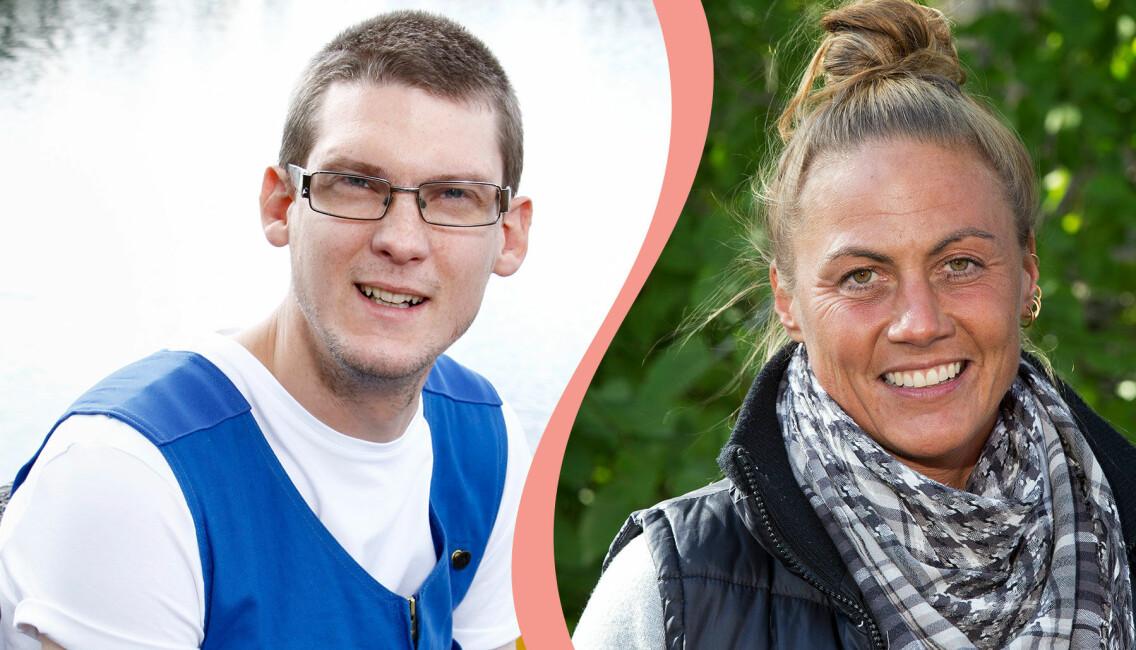 Delad bild. Till vänster synds Fredrik Karlsson Wirén som var med i Bonde söker fru 2007. Till höger syns Leonora Vilhelmsson som var med i programmet 2017 och 2018.