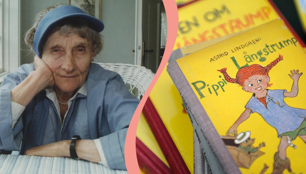 Delad bild. Till vänster syns Astrid Lindgren som sitter i en vit korgstol och lutar huvudet i handen. Till höger syns en trave gamla Pippi Långstrump-böcker.