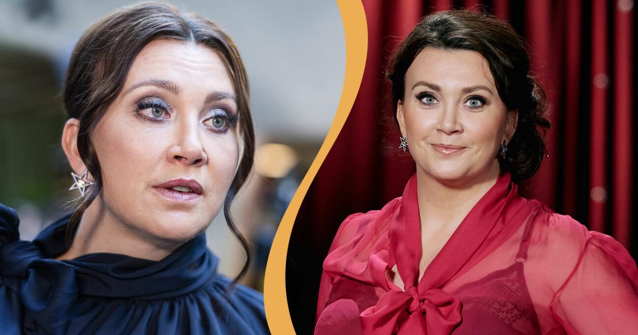 Delad bild. Till vänster syns Camilla Läckberg inför premiären av Stjärnorna på slottet. Till höger syns hon också, på en pressbild tagen i samband med hennes medverkan i Min sanning i SVT.