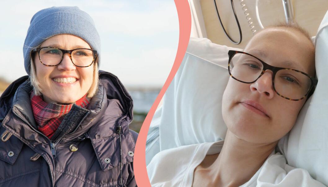 Delad bild. Till vänster syns Ebba Hjertstedt på stranden i Falsterbo. Till höger syns hon i en sjukhussäng två dagar efter sina canceroperation.