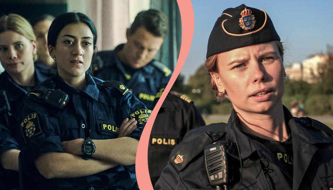 Delad bild. Till vänster syns Gizem Kling Erdogan som polisen Leah i Tunna blå linjen. Till höger syns Amanda Jansson som polisen Sara i samma serie.
