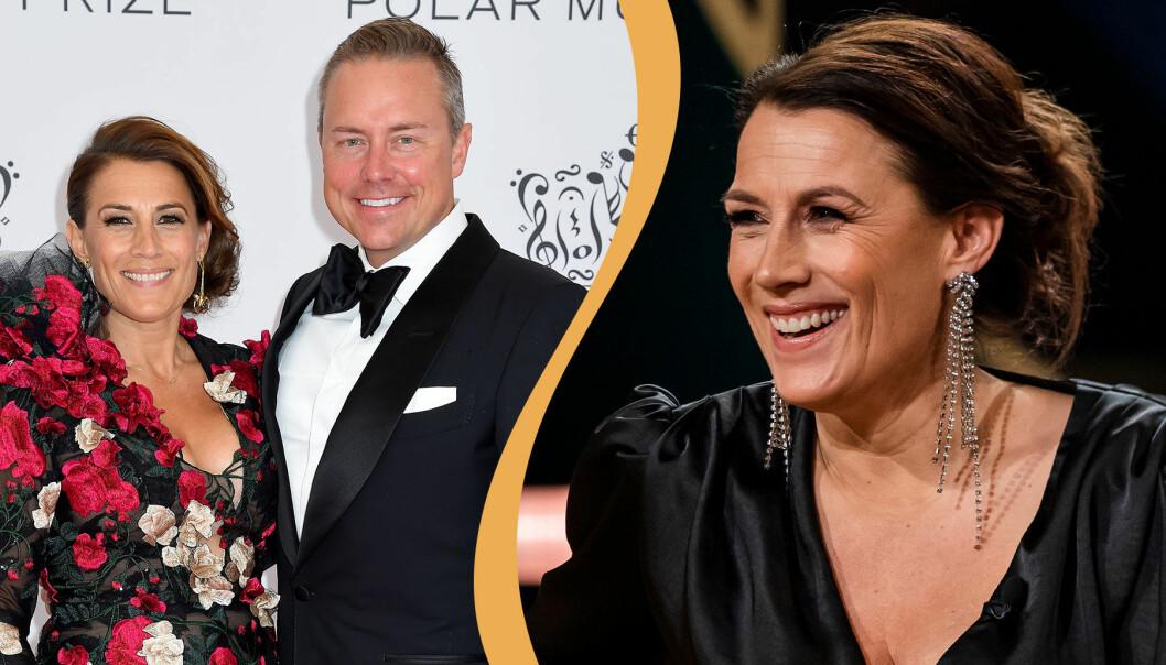 Delad bild. Till vänster syns Jill Johnson med pojkvännen Mattias Elg på röda mattan under Polarprisets utdelning 2019. Till höger syns Jill Johnson som gäst hos Carina Bergfeldt.