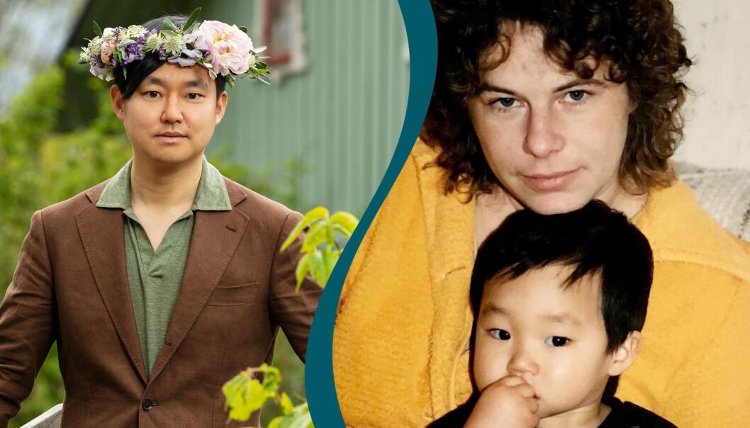 Delad bild. Till vänster syns journalisten och författaren Patrik Lundberg med en blomsterkrans på huvudet. Till höger är Patrik Lundberg som barn tillsammans med sin mamma Birgitta Lundberg.