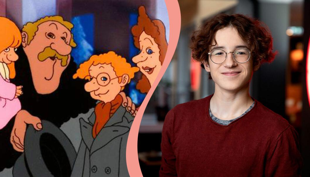 Delad bild. Till vänster syns Karl-Bertil Jonsson med sin familj ur den tecknade kortfilmen. Till höger syns Simon Larson som spelar Karl-Bertil Jonsson i en kommande filmatisering.