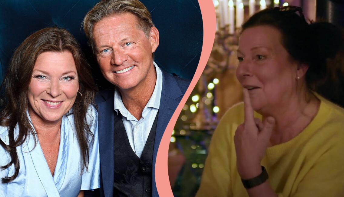 Delad bild. Till vänster syns Lotta Engberg och Mikael Sandström tillsammans på Kristallengalan 2020. Till höger syns Lotta Engberg i programmet Tillsammans med Strömstedts på TV4.