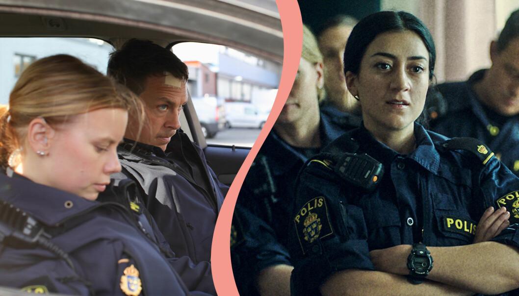 Delad bild. Till vänster syns Oscar Töringe och Amanda Jansson i rollerna som Magnus och Sara i tv-serien Tunna blå linjen. ITill höger syns Gizem Erdogan som Leah i samma serie.