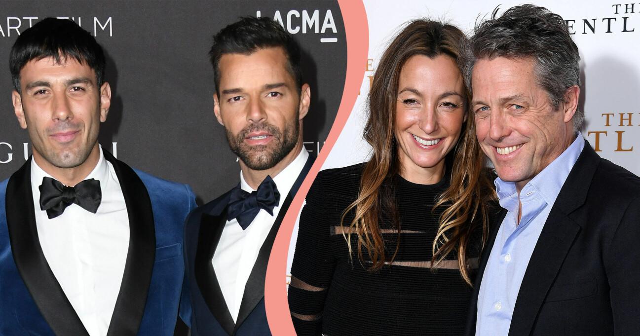 Delad bild. Till vänster syns Ricky Martin och maken Jwan Yosef på röda mattan. Till höger syns Hugh Grant tillsammans med hustrun Anna Eberstein.