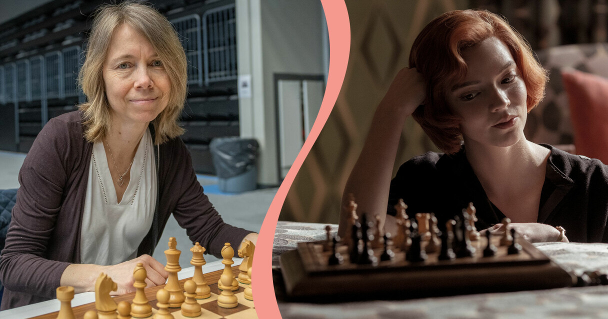 Delad bild. Till vänster syns schackproffset Pia Cramling vid ett schackbräde. Till höger syns Anya Taylor-Joy som Beth Harmon i tv-serien The Queen's gambit.