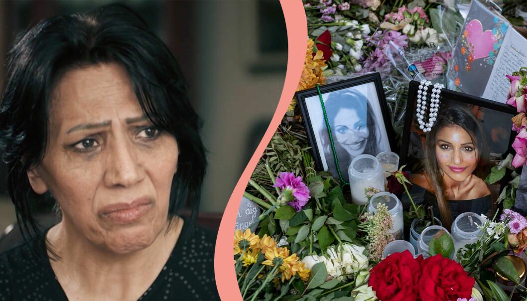 Delad bild. Till vänster syns Shanaz Dastpak som berättar om mordet på dottern Karolin Hakim i Kalla fakta. Till höger syns två bilder på Karolin Hakim tillsammans med ljus och blommor.