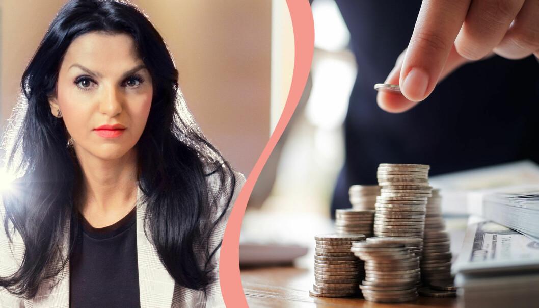 Delad bild. Till vänster syns Shoka Åhrman, sparekonom på SPP Pension, som jobbar för att fler kvinnor ska ta kontrollen över sin ekonomi. Till höger syns en hög med mynt och sedlar.