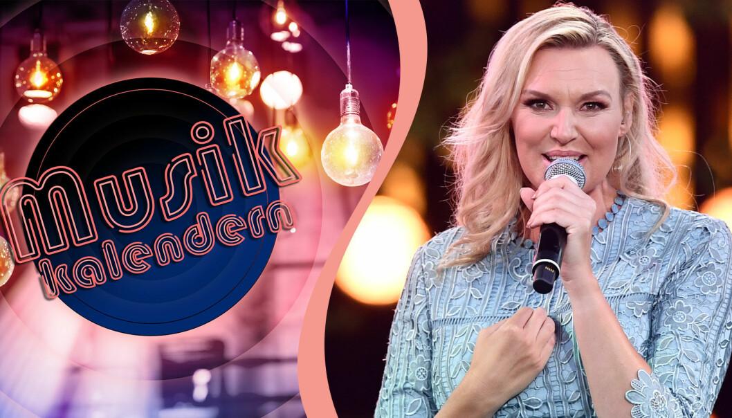 Delad bild. Till vänster syns vinjetten till Musikkalendern i SVT. Till höger en bild på Sanna Nielsen, som är en av artisterna i Musikkalendern 2020.