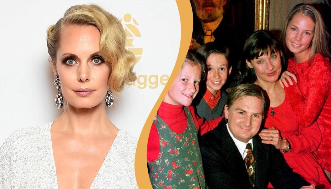 Delad bild.Hanna Malmberg som vuxen och hela familjen på Greveholm.