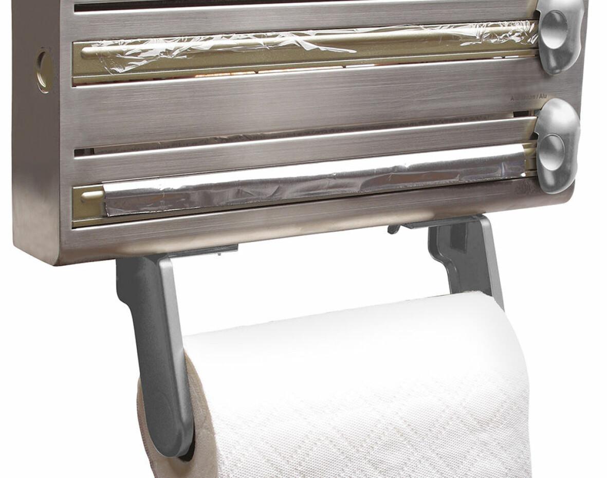 Dispenser för aluminiumfolie, plastfolie och hushållspapper.