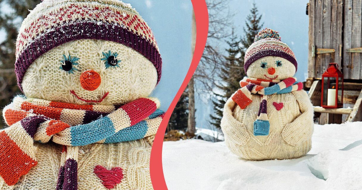En DIY-snögubbe gjord av gamla stickade tröjor och lite handarbete.