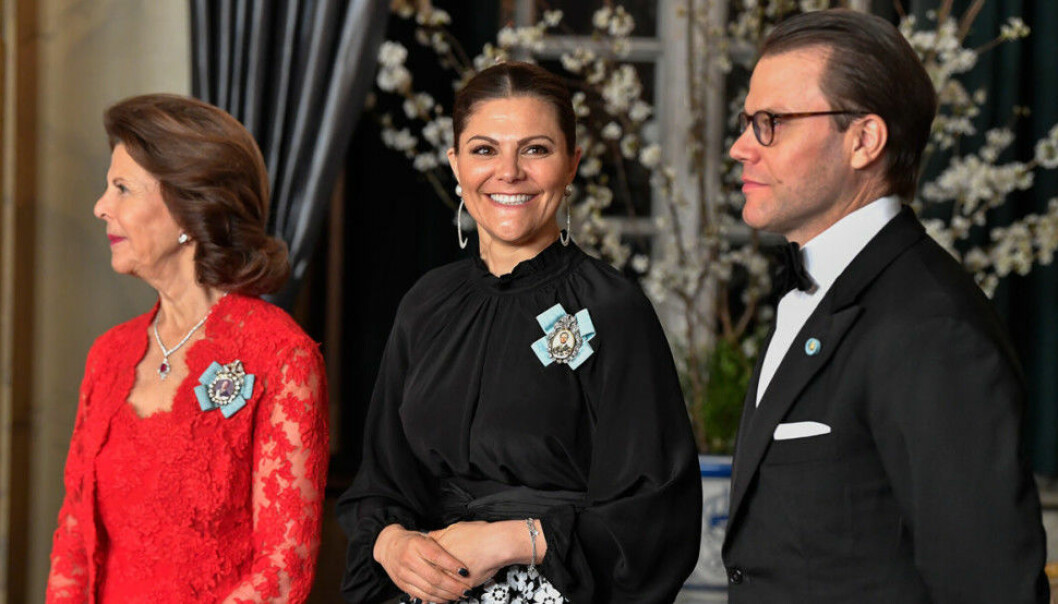 Drottning Silvia, kronprinsessan Victoria och prins Daniel.
