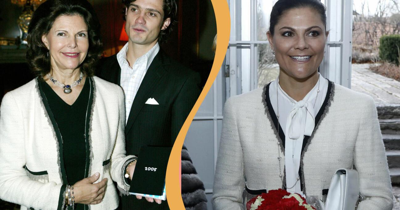 Drottning Silvia och kronprinsessan Victoria i samma kavaj från Chanel.