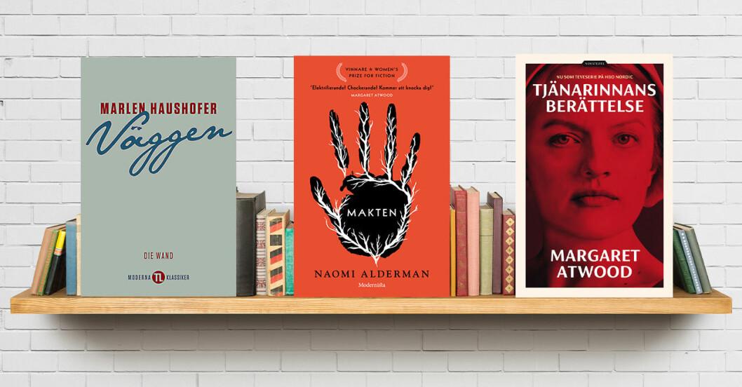 Dystopiska böcker på en bokhylla.