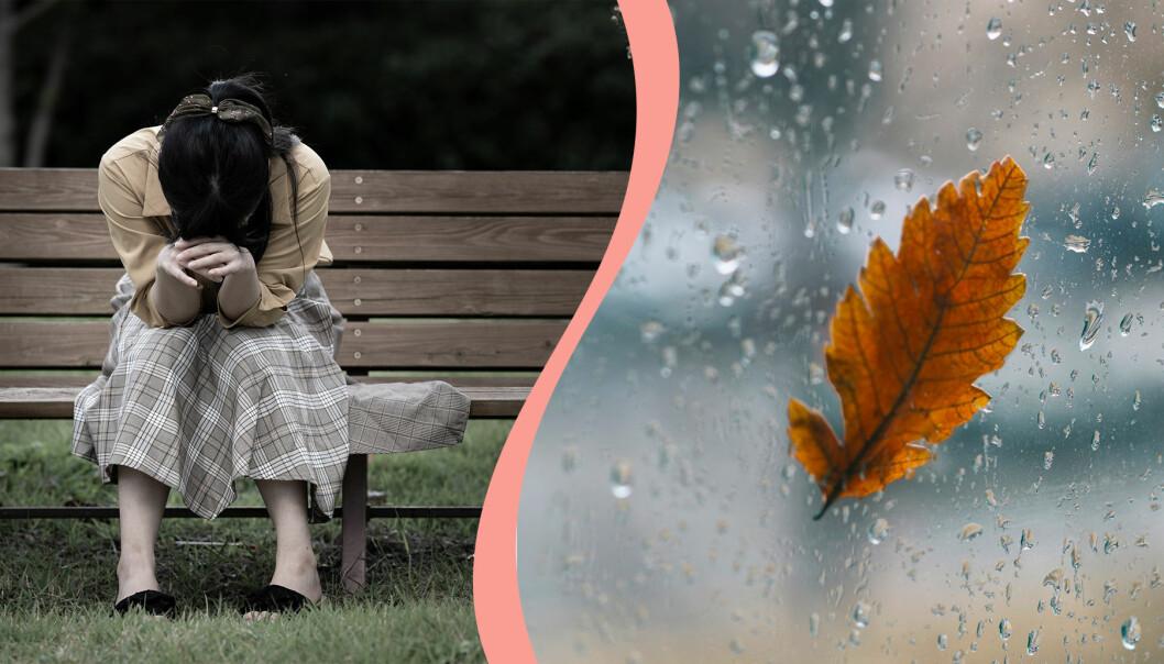 Till vänster, en kvinna sitter på en bänk med huvudet på armarna, till höger, ett höstblad på regnig ruta.