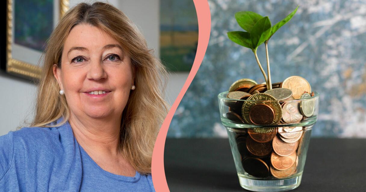 Ekonomiexpert Annika Creutzer i kombinerad bild med en växt som ska symbolisera tillväxt och sparande.