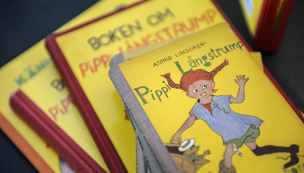 En hög med gamla Pippi Långstrump-böcker.