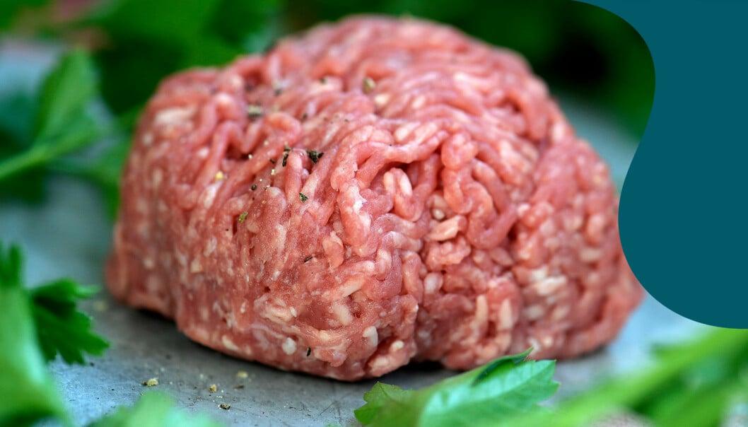 En klump med köttfärs ligger på en skärbräda omringad av gröna färska örter.