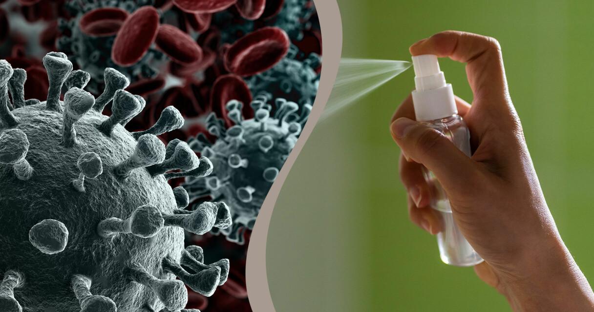 En kombinerad bild av en sprayflaska och coronaviruset.
