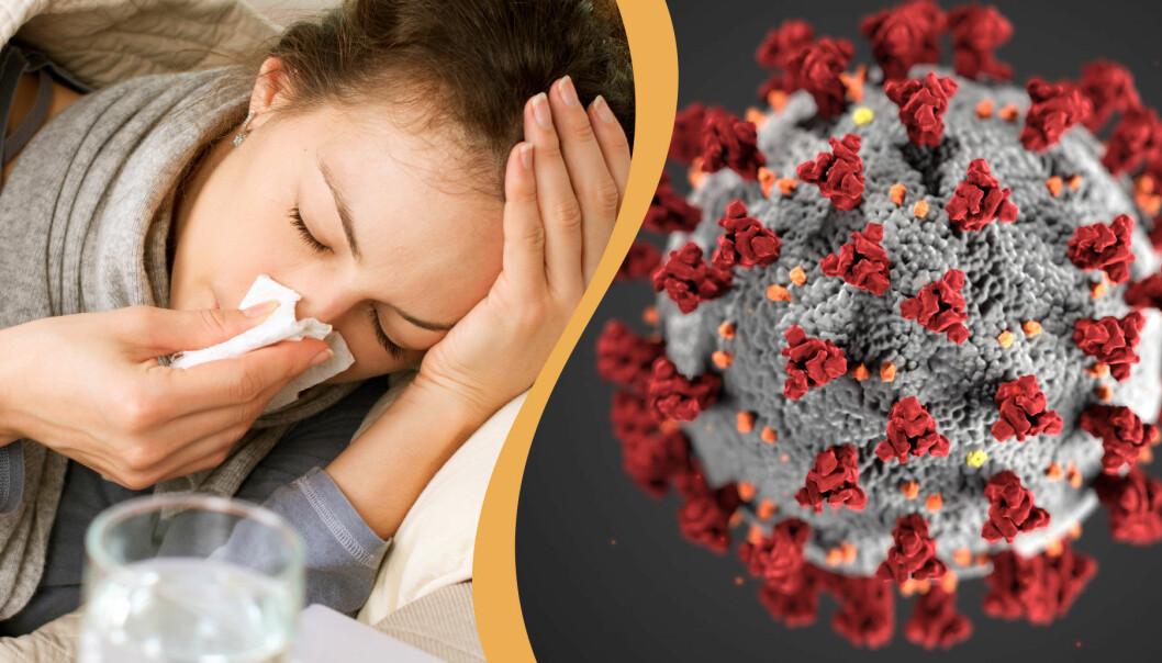 En kvinna som lider av influensa i kombination med coronaviruset i närbild.