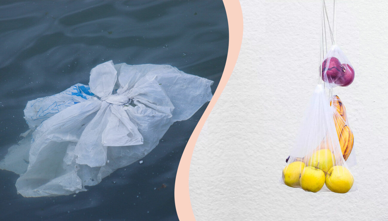 En plastpåse i havet till vänster. Till höger: En nätpåse med banan, äpple och röd lök.