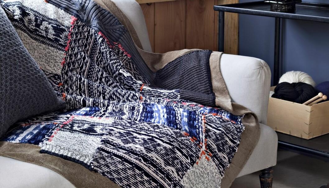 En skön pläd i fint mönster som är hemmagjord av återbrukade tygdelar.