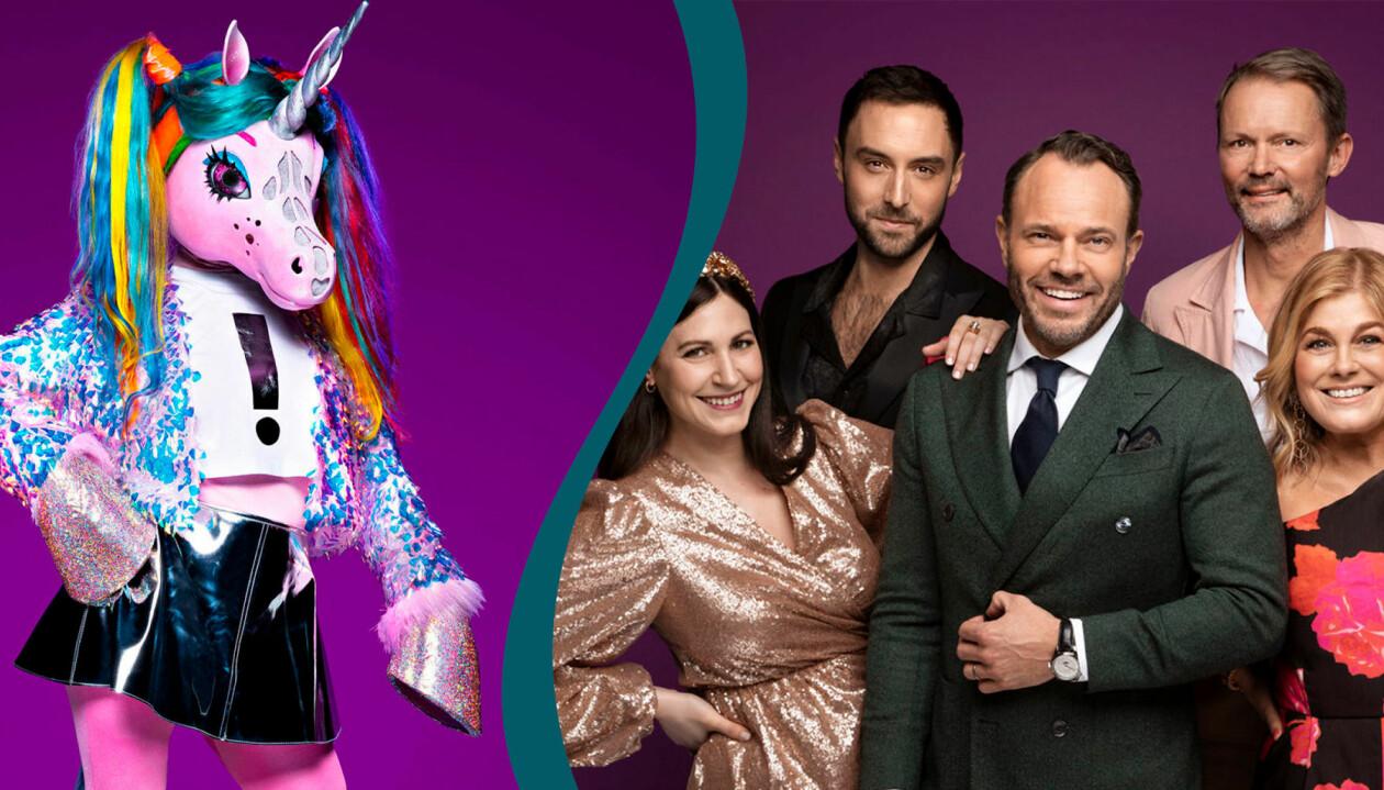 Enhörningen i MAsked Singer Sverige 2021 och juryn i programmet bestående av att Nour El Refai, Måns Zelmerlöw, David Hellenius, Felix Herngren och Pernilla Wahlgren