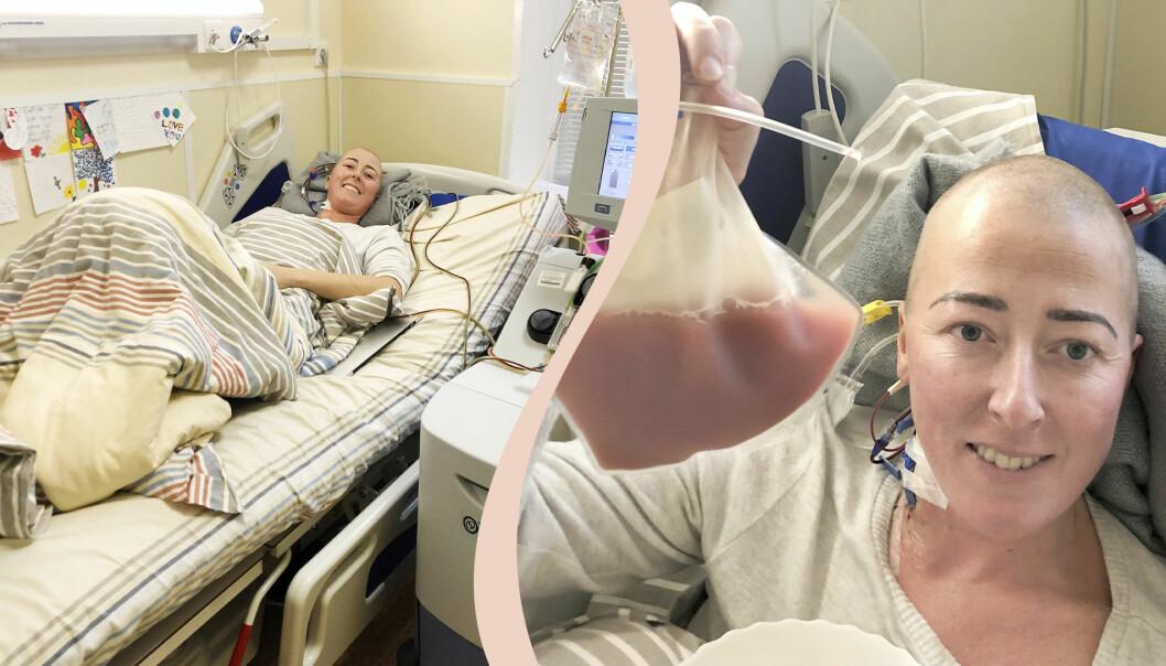 Delad bild. Till vänster ligger Eva N. Farias leende i sängen på ett sjukhus. Till höger syns Eva i närbild i sjukhussängen och hon håller upp en påse med rosa vätska. Hennes hår är borta efter cellgiftsbehandlingar.