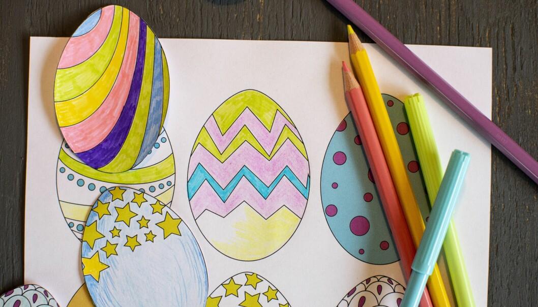 Pappersägg att färglägga till påsk – det är bara att skriva ut vår färdiga mall och göra likadana