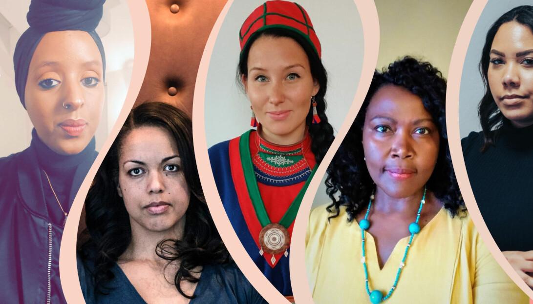 Ett kollage med porträtt på Anbara Hussein, Elaine Eksvärd, Ina Omma, Irene Opira och Nicole Kavander