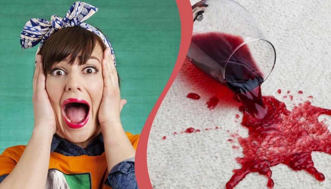 Kvinna med rosett på huvudet ser förfärad ut. Utspillt glas med rödvin på en vit matta.