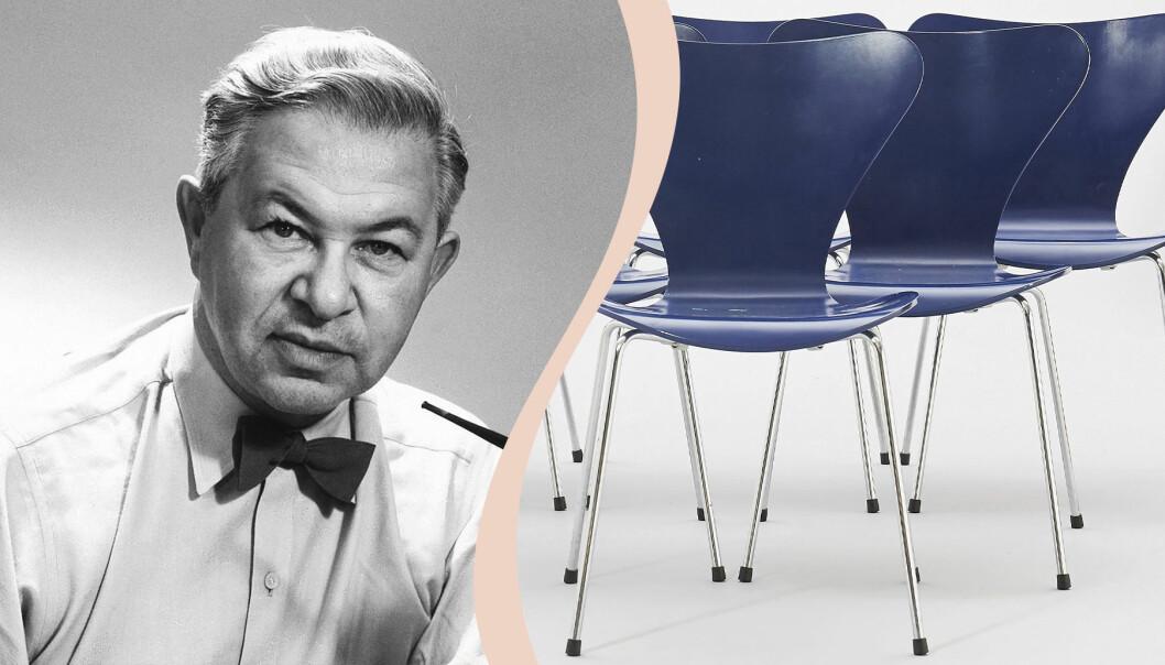 Till vänster Arne Jacobsen, till höger 7 blåa Sjuanstolar.