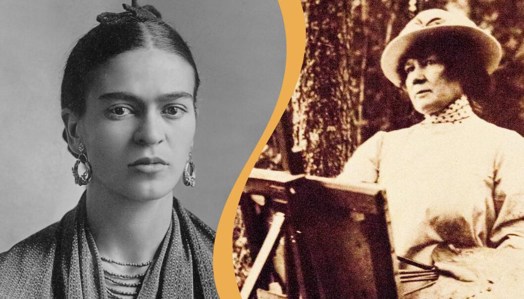 Frida Kahlo till vänster, Jenny Nyström till höger.