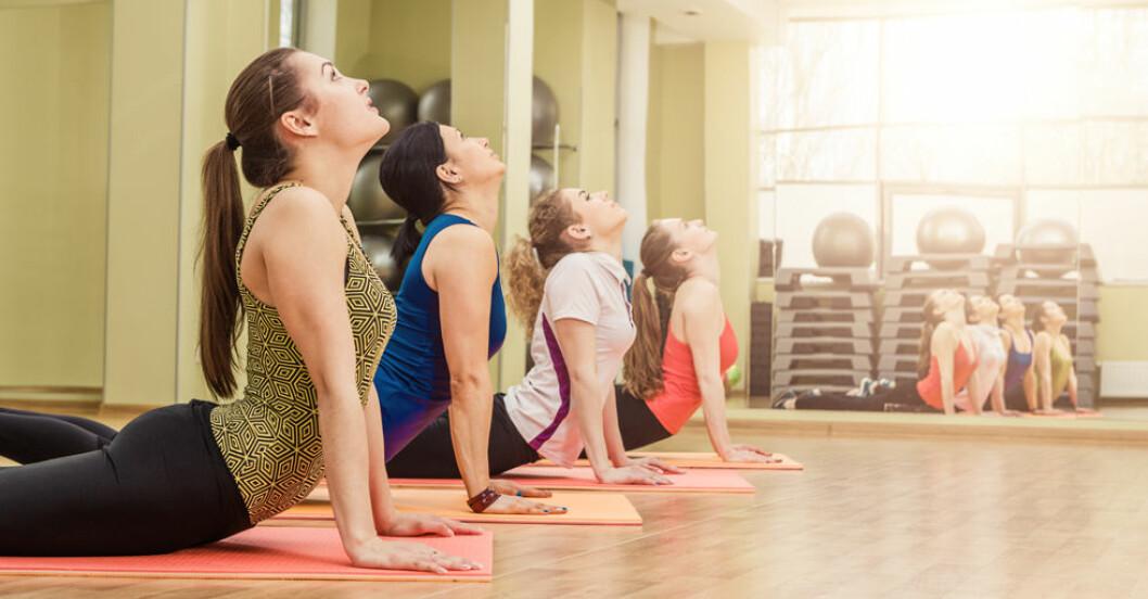 fyra-kvinnor-gor-yoga-i-traningssal