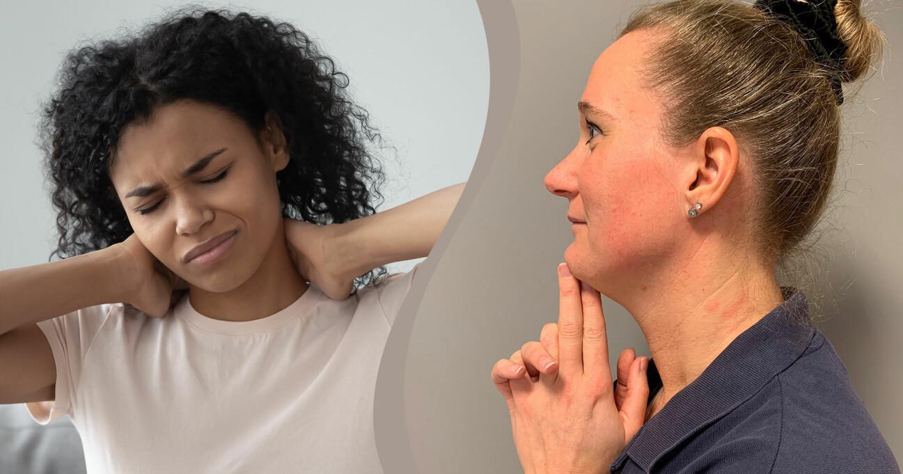 Linda Hallin visar en övning hur du kan motverka din gamnacke medan en annan kvinna illustrerar smärtan gamnacke kan orsaka.