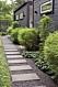 Svart husfasad med grönskande rabatt och gång av rektangulära stenar.
