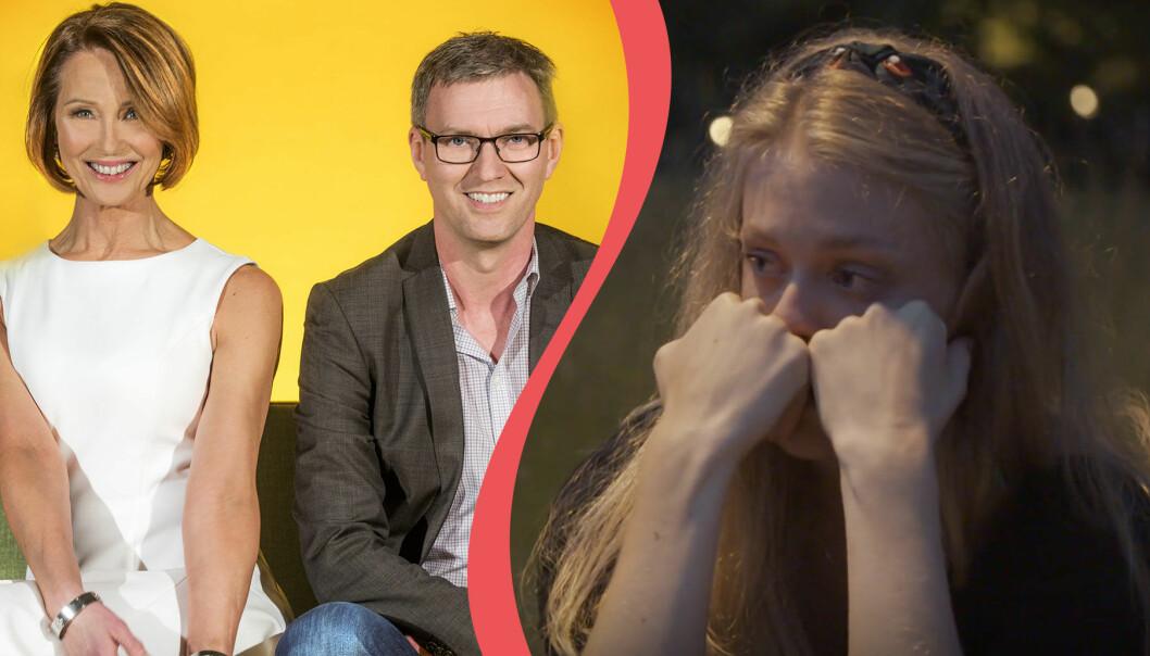 Delad bild. Till vänster syns Elizabeth Feurst och Mats Ingelborn som deltog i den tredje säsongen av Gift vid första ögonkastet. Till höger syns Sofia Lindhe ur ett avsnitt av programmets sjunde säsong.